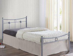 """Κρεβάτι """"DUGAN"""" μονό μεταλλικό σφυρήλατο ασημί 96x205x83"""