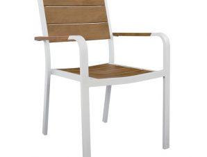 Πολυθρόνα αλουμινίου-polywood σε λευκό χρώμα 55x59x85