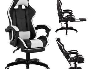 """Πολυθρόνα διευθυντή """"GAMING"""" από PU σε χρώμα μαύρο/λευκό 68x66x122"""