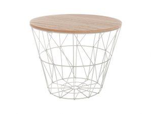"""Βοηθητικό τραπέζι """"JACOT"""" από μέταλλο-MDF σε γκρι-δρυς χρώμα Φ38×30,5"""